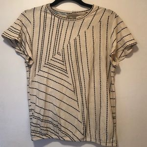 Dolan By Anthropologie Striped Flutter Sleeve Tee